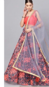 Grey & Pink Thread Work Lehenga